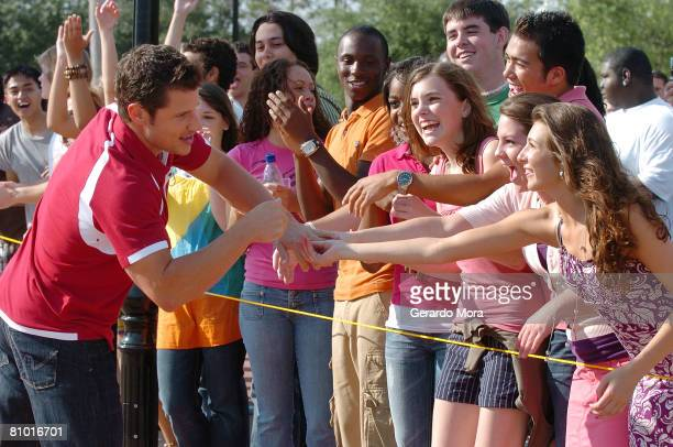 Singer and actor Nick Lachey greets with the audition's participants during the Disney's High School Musical Get in the Picture Session Casting at...