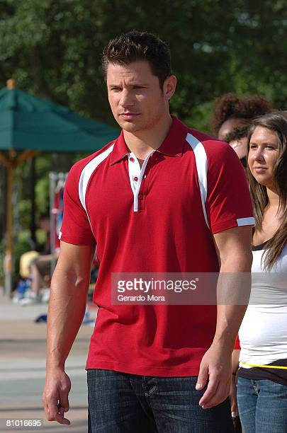 Singer and actor Nick Lachey performs in camera during the Disney's High School Musical Get in the Picture Session Casting at Disney's Wide World of...