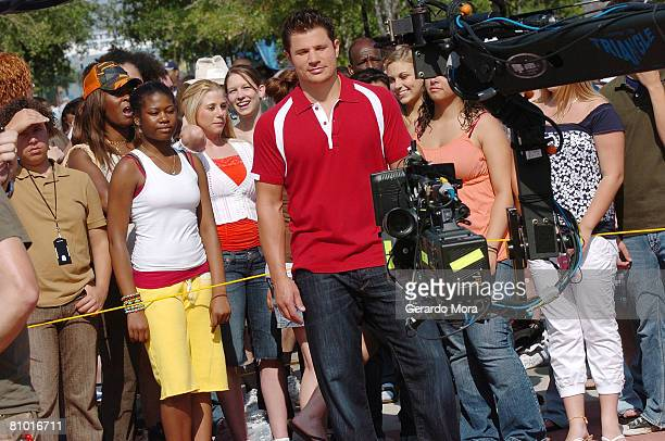 Singer and actor Nick Lachey performs in camera with audition's participants during the Disney's High School Musical Get in the Picture Session...