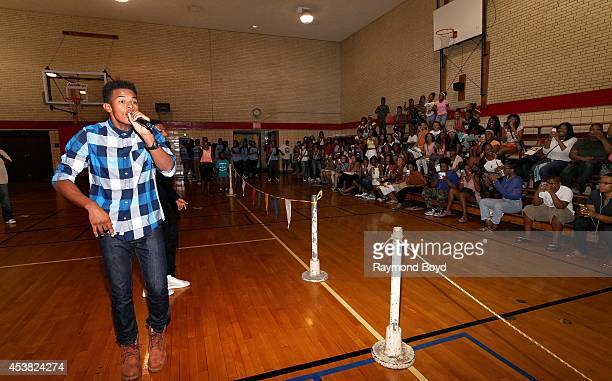 Singer and actor Trevor Jackson and rapper Diggy Simmons performs their single My Girl at the Foster Park Fieldhouse on August 9 2014 in Chicago...