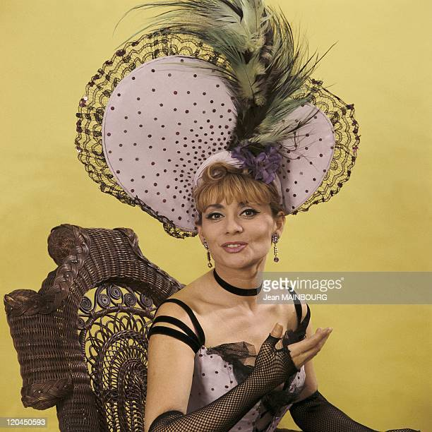 Singer and actress Annie Cordy in Belle Epoque clothes in France in the 1960s