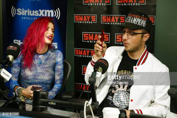Singer and actress Bella Thorne pose for selfies with musician Prince Fox during 'Sway in the Morning' with Sway Calloway on Eminem's Shade 45 at the...