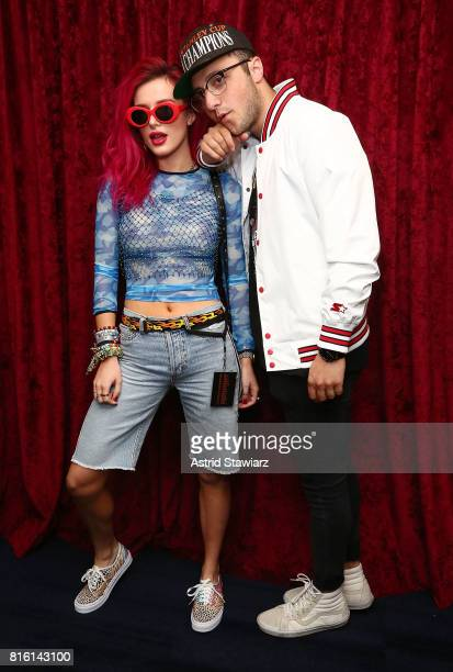 Singer and actress Bella Thorne poses for photos with musician Prince Fox at the SiriusXM Studios on July 17 2017 in New York City