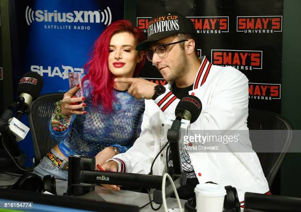 Singer and actress Bella Thorne poses for selfies with musician Prince Fox during 'Sway in the Morning' with Sway Calloway on Eminem's Shade 45 at...