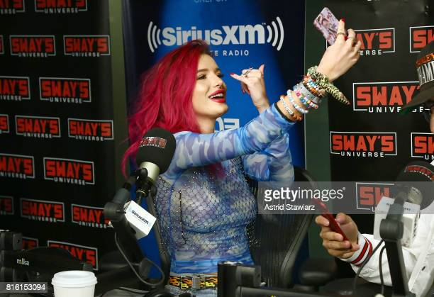 Singer and actress Bella Thorne takes a selfie during 'Sway in the Morning' with Sway Calloway on Eminem's Shade 45 at the SiriusXM Studios on July...
