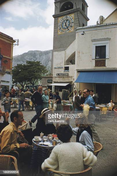 Singer and actress Caprice Chantal in a square on the Italian island of Capri 1958