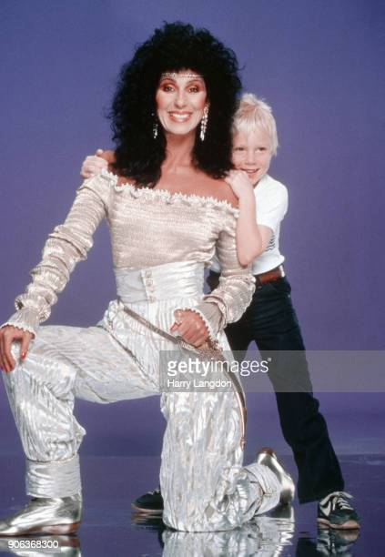 Singer and actress CHER and son Elijah Blue Allman pose for a portrait in 1980 in Los Angeles California