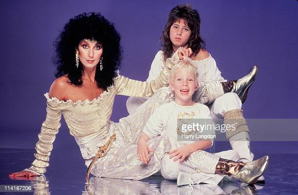 Singer and actress Cher her daughter Chastity Bono and son Elijah Blue Allman pose for a photo session in June 1981 in Los Angeles California