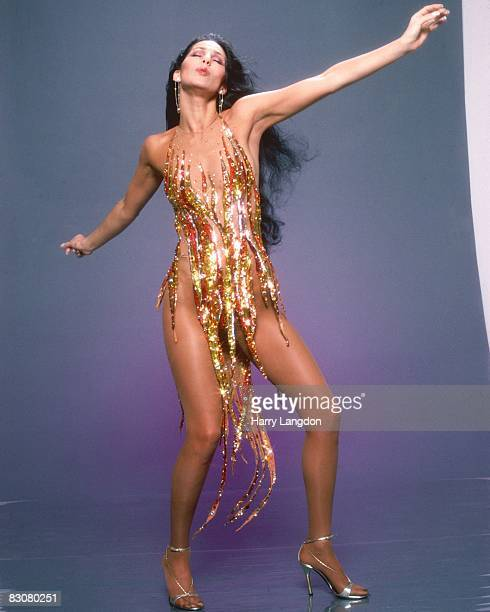 Singer and actress Cher poses for a Fashion Session in a Bob Mackie Creation on April 9, 1978 in Los Angeles, California.