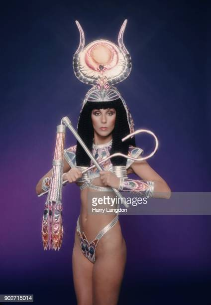 Singer and actress Cher poses for a Fashion Session in a Bob Mackie Creation on March 9 1978 in Los Angeles California