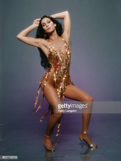 Singer and actress Cher poses for a Fashion Session in a Bob Mackie Creation on April 9 1978 in Los Angeles California
