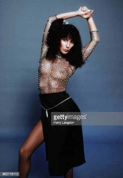Singer and actress Cher poses for a Fashion Session in a Bob Mackie Creation on March 9, 1978 in Los Angeles, California.