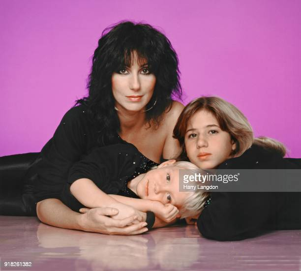Singer and actress Cher with children Chastity Bono and Elijah Blue Allman poses for a portrait in 1980 in Los Angeles California