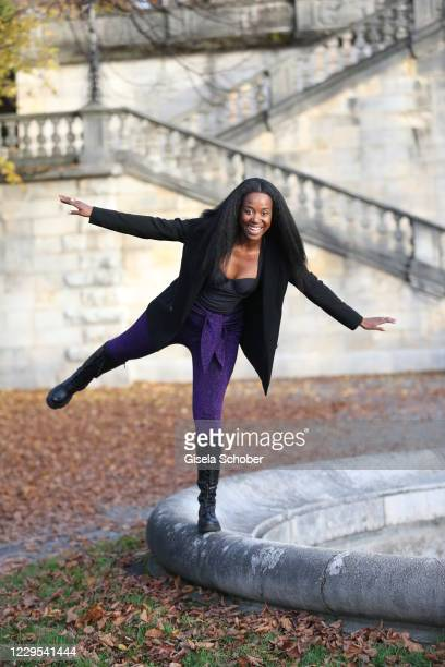 Singer and actress Gladys Mwachiti poses during a photo shooting at Friedensengel on November 08, 2020 in Munich, Germany.