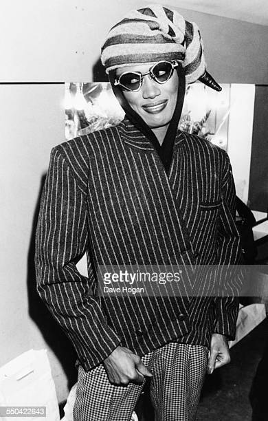 Singer and actress Grace Jones at the Fashion Aid benefit concert for Ethiopian famine relief at the Royal Albert Hall London 5th November 1985