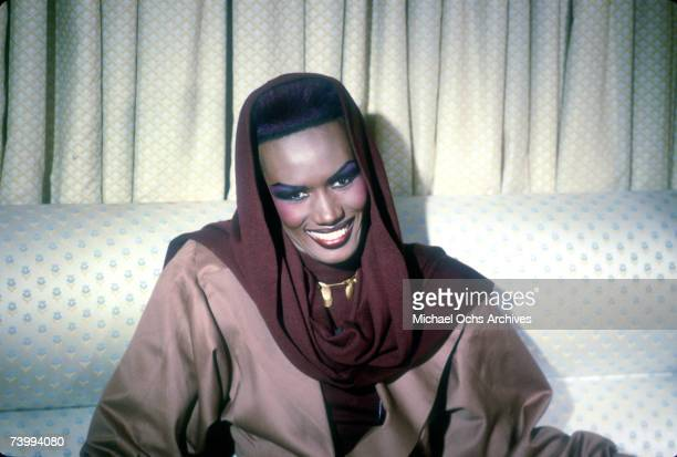 Singer and actress Grace Jones poses for a portrait session in circa 1985 in Los Angeles California