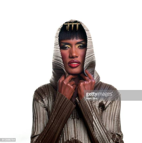 Singer and actress Grace Jones poses for a portrait wearing an Azzendine Alaia creation on August 25th 1989 in New York City New York