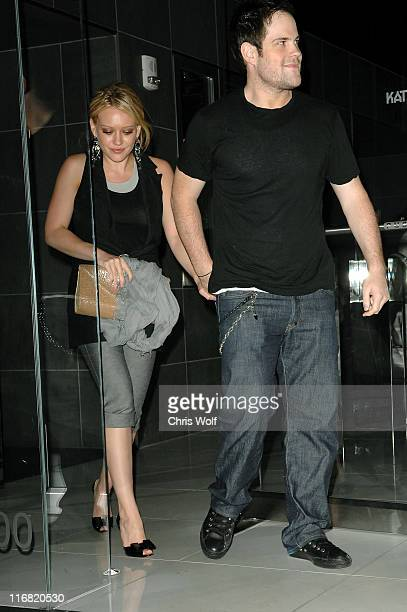 Singer and actress Hilary Duff and National Hockey League star Mike Comrie leaving Katsuya on July 1 2008 in Hollywood California