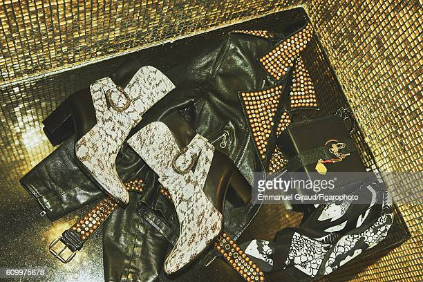 Singer and actress Izia Higelin's style inspirations are photographed for Madame Figaro on June 9 2016 in Paris France Bag boots PUBLISHED IMAGE...