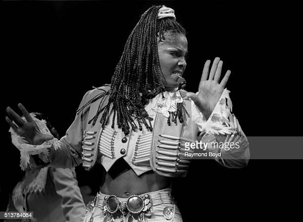 Singer and actress Janet Jackson performs at the Tweeter Center in Tinley Park Illinois in 1994