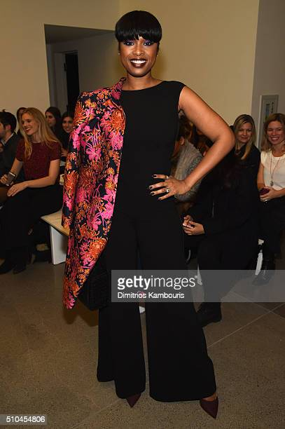 Singer and actress Jennifer Hudson attends the Zac Posen Fall 2016 fashion show during New York Fashion Week at Spring Studios on February 15 2016 in...