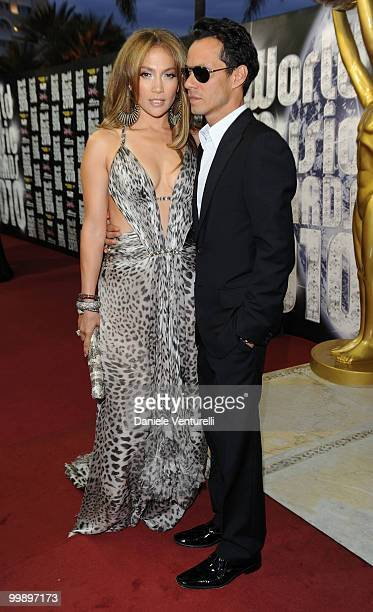 Singer and actress Jennifer Lopez and husband and singer Marc Anthony attend the World Music Awards 2010 at the Sporting Club on May 18, 2010 in...
