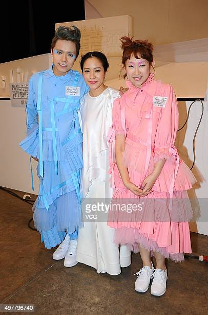 Singer and actress Karena Lam singer and actress Ivana Wong singer Hins Cheung receive interviews after performing in the musical play Music Is Live...