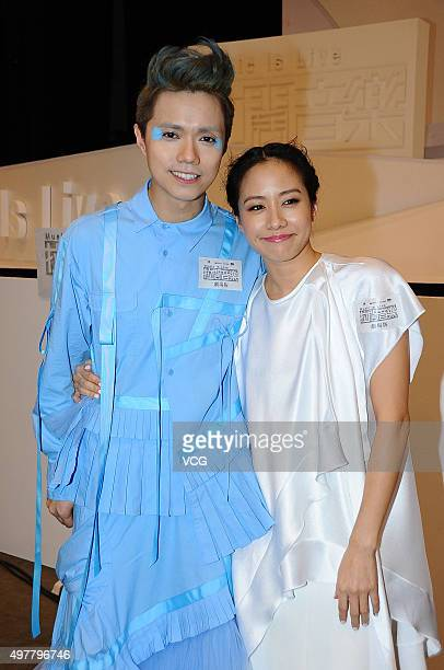 Singer and actress Karena Lam singer Hins Cheung receive interviews after performing in the musical play Music Is Live on November 18 2015 in Hong...
