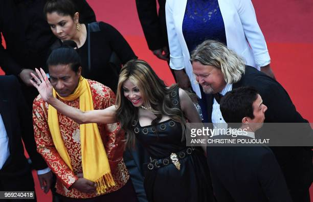 US singer and actress La Toya Jackson poses as she arrives on May 16 2018 for the screening of the film 'Burning' at the 71st edition of the Cannes...