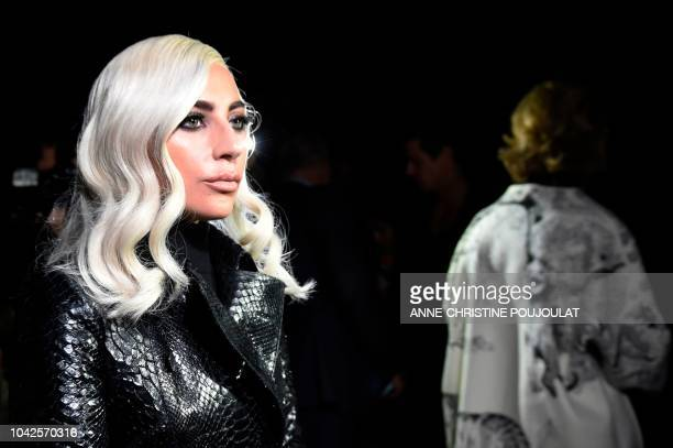 US singer and actress Lady Gaga arrives to attend the Celine SpringSummer 2019 ReadytoWear collection fashion show in Paris on September 28 2018