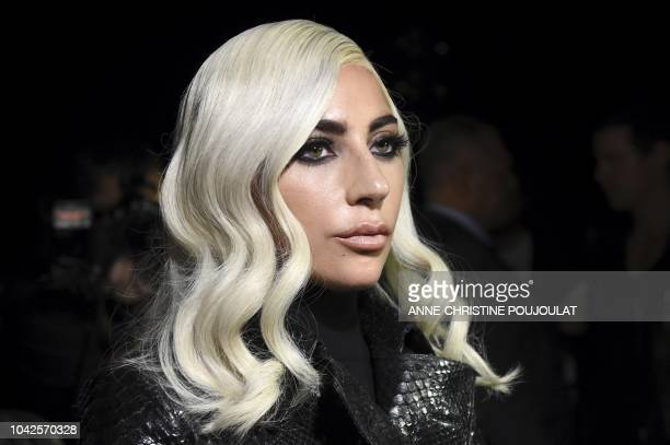 TOPSHOT US singer and actress Lady Gaga arrives to attend the Celine SpringSummer 2019 ReadytoWear collection fashion show in Paris on September 28...
