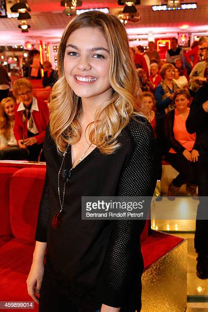 Singer and actress Louane Emera presents the movie 'La famille Belier' during the 'Vivement Dimanche' French TV Show special Album 'La bande a Renaud...