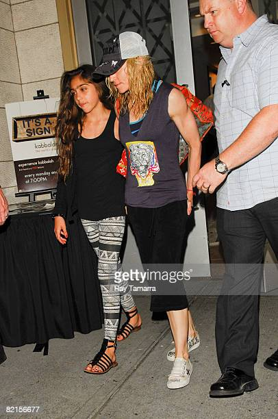 Singer and actress Madonna and her daughter Lourdes Leon leave the Kabbalah Center on August 01 2008 in New York City