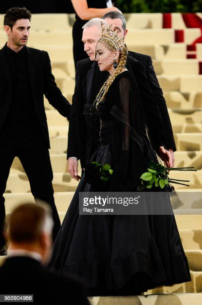 Singer and actress Madonna enters the Heavenly Bodies Fashion The Catholic Imagination Costume Institute Gala at The Metropolitan Museum on May 07...