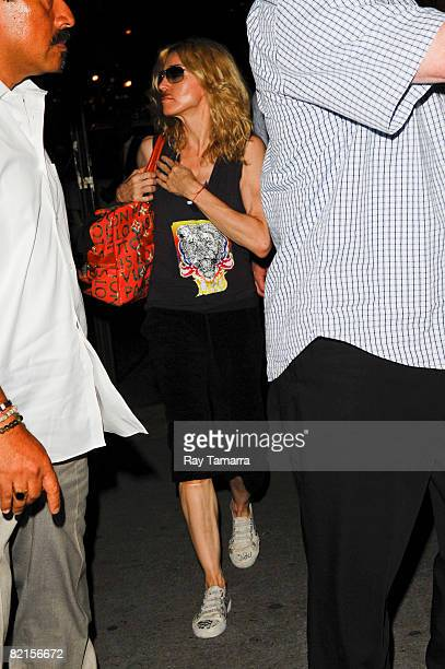 Singer and actress Madonna visits the Kabbalah Center on August 01 2008 in New York City