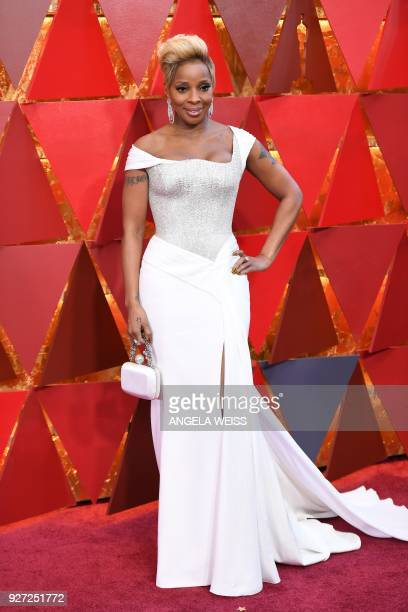 US singer and actress Mary J Blige arrives for the 90th Annual Academy Awards on March 4 in Hollywood California / AFP PHOTO / ANGELA WEISS