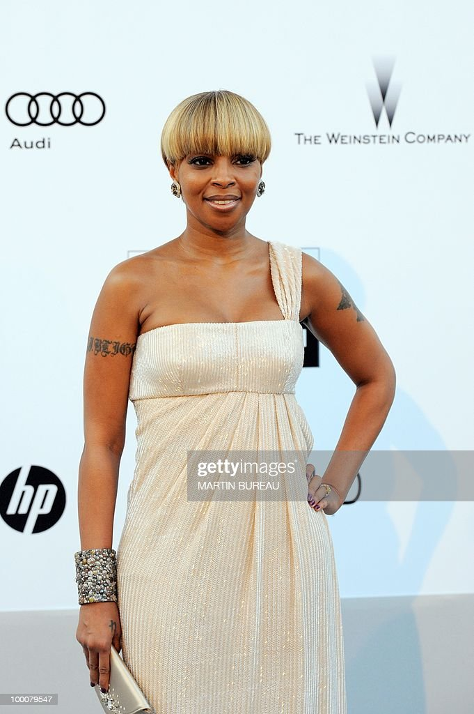 US singer and actress Mary J. Blige poses while arriving at amfAR's Cinema Against Aids 2010 benefit gala on May 20, 2010 in Antibes, southeastern France.