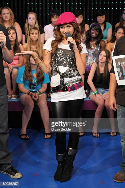 Singer and actress Miley Cyrus appears onstage during MTV's TRL at MTV Studios on July 18 2008 in New York City