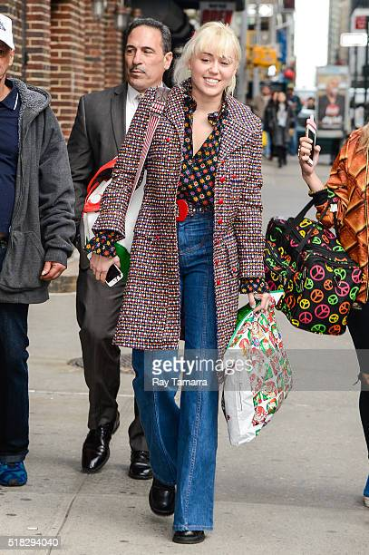 Singer and actress Miley Cyrus enters 'The Late Show With Stephen Colbert' taping at the Ed Sullivan Theater on March 30 2016 in New York City