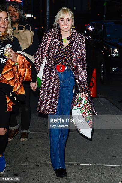 Singer and actress Miley Cyrus leaves 'The Late Show With Stephen Colbert' taping at the Ed Sullivan Theater on March 30 2016 in New York City