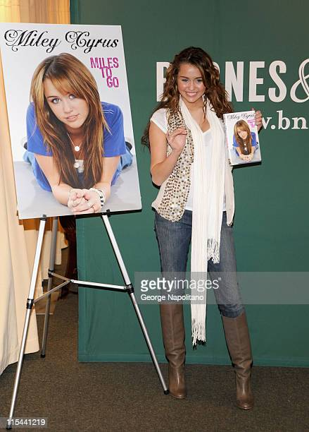 Singer and actress Miley Cyrus promotes 'Miles to Go' at Barnes Noble on March 5 2009 in New York City