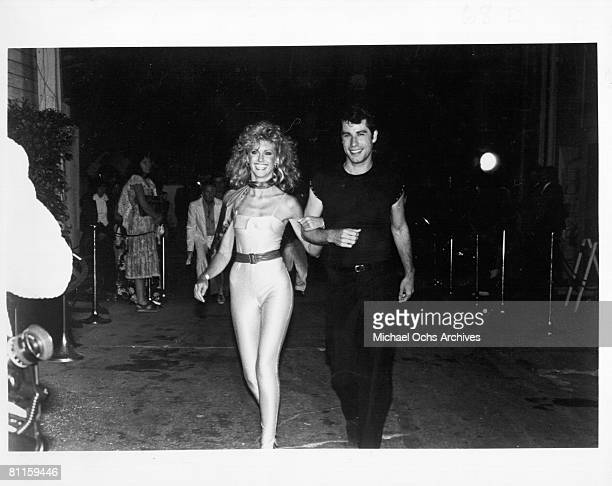 Singer and actress Olivia NewtonJohn and costar John Travolta attend the premiere of the film 'Grease' 1978
