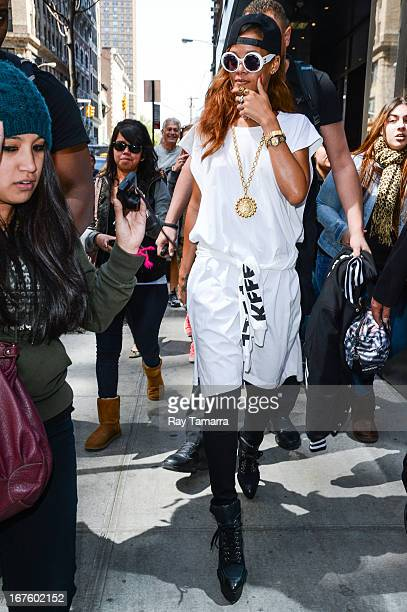 Singer and actress Rihanna leaves her Midtown Manhattan hotel on April 26 2013 in New York City