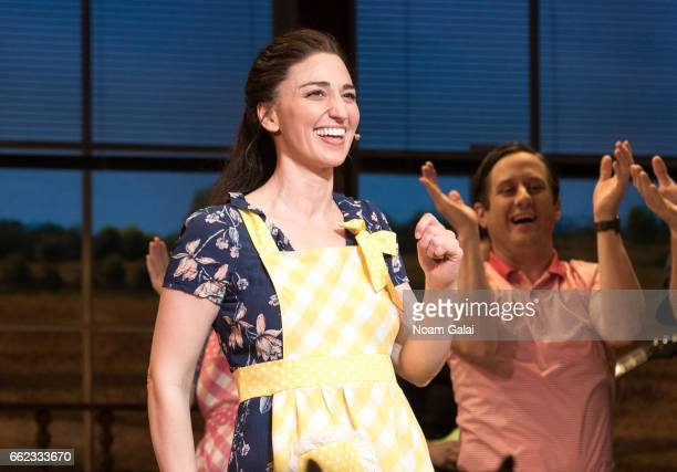 Singer and actress Sara Bareilles performs onstage during the curtain call for Broadway's Waitress at The Brooks Atkinson Theatre on March 31 2017 in...
