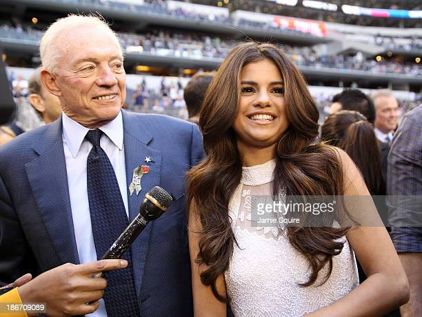 Singer and actress Selena Gomez talks with Dallas Cowboys team owner Jerry Jones after announcing she will be the halftime entertainment on...