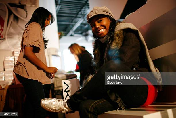 Singer and actress Shar Jackson poses for a portrait while trying on Anne Klein shoes at their swag lounge on Main Street during the Sundance Film...