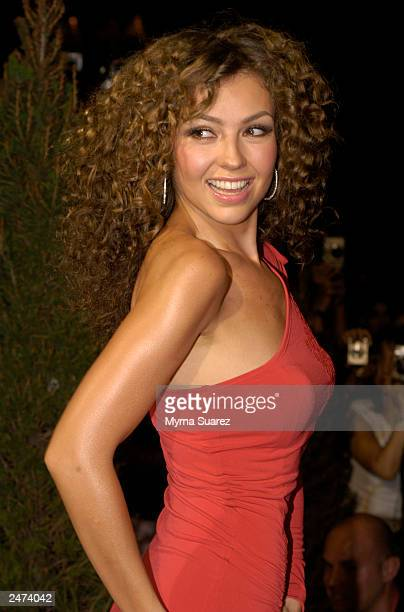 Singer and actress Thalia Sodi arrives at the Thalia Kmart clothing line launch party and fashion show at Capitale on August 13 2003 in New York City...