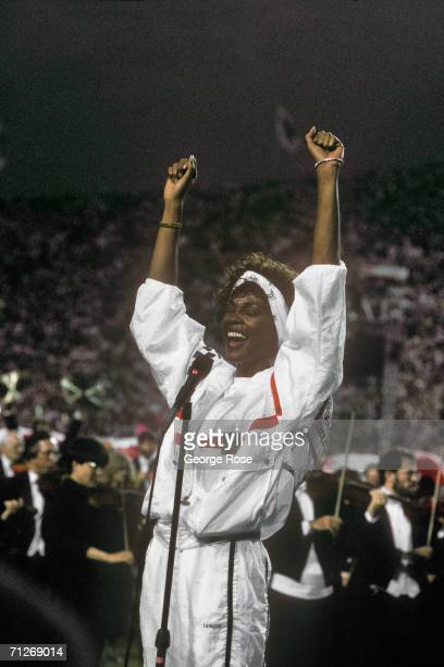 Singer and actress Whitney Houston sings the National Anthem at the 1991 Tampa Florida Superbowl XXV Houston's rendition of the National Anthem was...