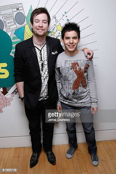 Singer and American Idol 2008 Winner David Cook and Singer and American Idol runnerup David Archuleta attend a taping of MTV's TRL on May 29 2008 in...
