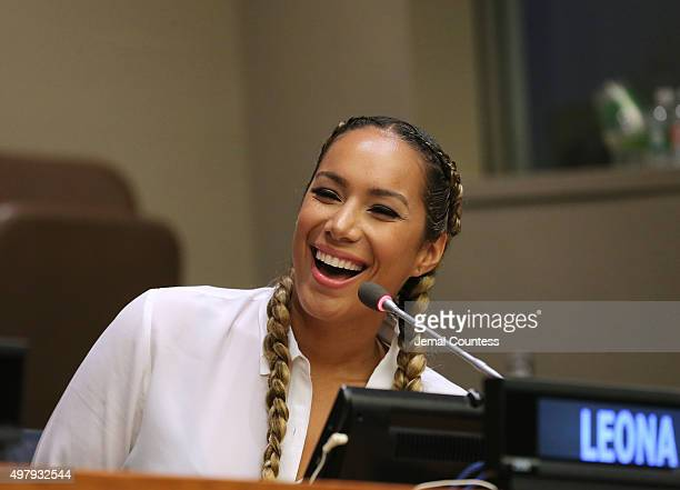 Singer and animal welfare campaigner Leona Lewis speaks on the 'In the Spotlight Celebrity Entrepreneurs Giving Voice to the Voiceless' panal during...